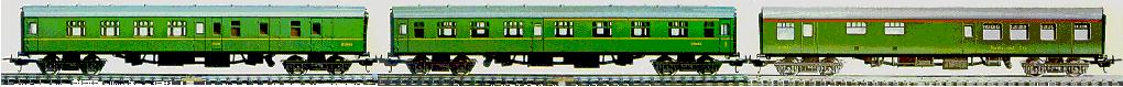 Lima Mk1 BR green coaches #9327 and #9152 and #9235