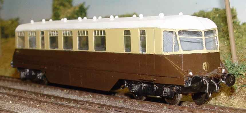 GWR AEC railcar made by Mick Scarrow from the Worsley Works etch kit